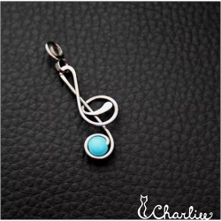 Přívěsek Houslový klíč - modrý