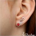 Pecky Houslový klíč - červené perličky