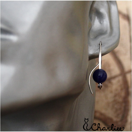 Provlékací náušnice S Lapis lazuli (kratší)